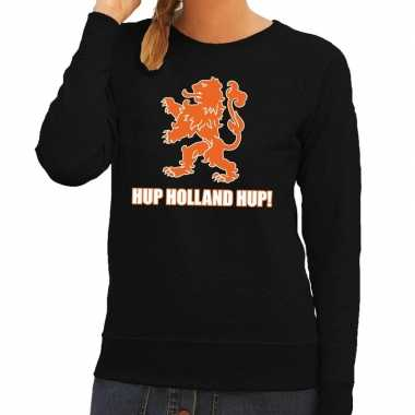 Ek / wk supporter sweater hup holland hup zwart dames