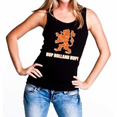 Ek / wk supporter tanktop / hemd hup holland hup zwart dames