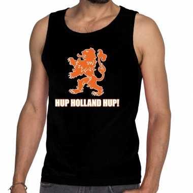 Ek / wk supporter tanktop / hemd hup holland hup zwart heren