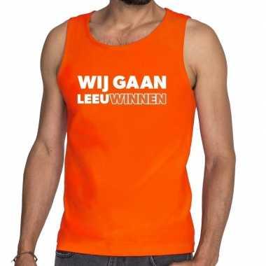 Ek / wk supporter tanktop / hemd wij gaan leeuwinnen oranje heren