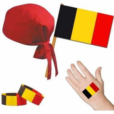 Fan artikelen set belgie thema volwassenen