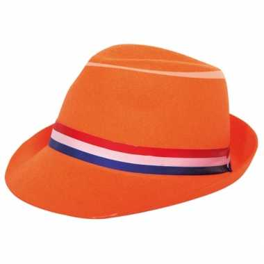 Feest hoed oranje lint