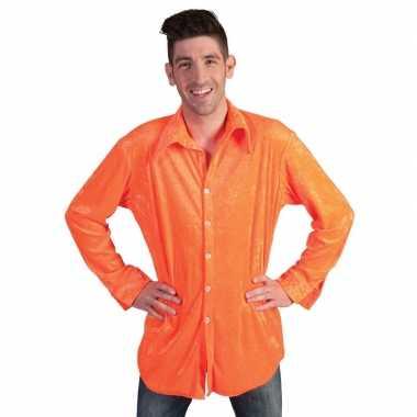 Fluor oranje fluweelachtig overhemd heren