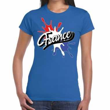 France/frankrijk t shirt spetter blauw dames