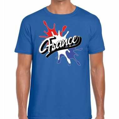 France/frankrijk t shirt spetter blauw heren