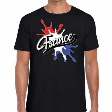 France/frankrijk t shirt spetter zwart heren
