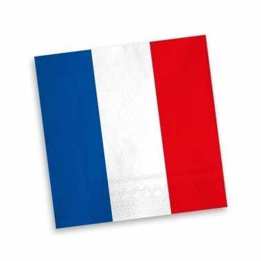 Frankrijk servetten blauw wit rood20 stuks