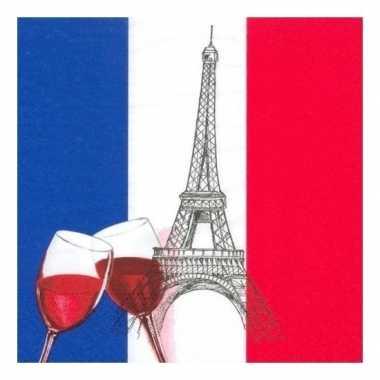Frankrijk versiering servetten 100 st