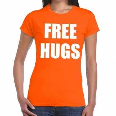 Free hugs tekst t shirt oranje dames