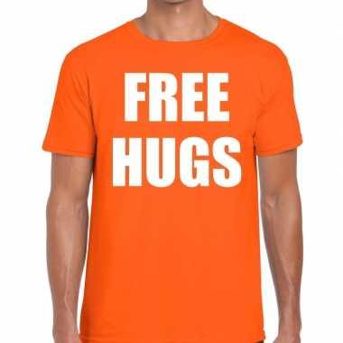 Free hugs tekst t shirt oranje heren