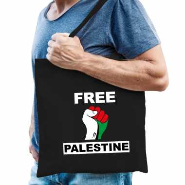 Free palestine katoenen tasje zwart heren palestina tas palestijnse vlag vuist