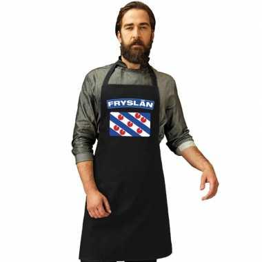Friesland vlag barbecueschort/ keukenschort zwart volwassenen