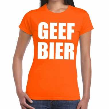 Geef bier tekst t shirt oranje dames