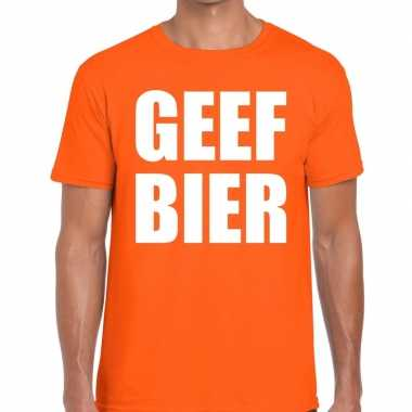Geef bier tekst t shirt oranje heren