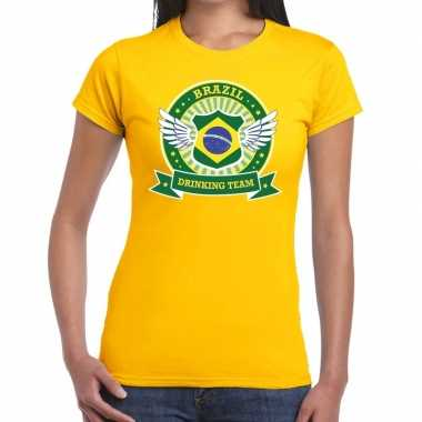 Geel brazil drinking team t shirt dames
