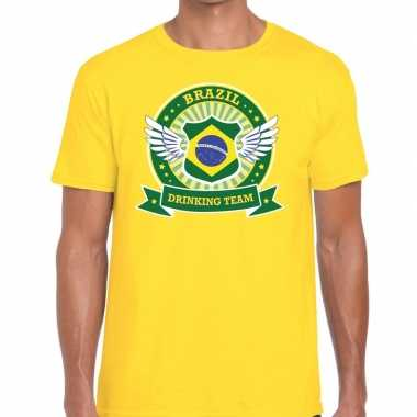Geel brazil drinking team t shirt heren