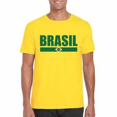 Geel brazilie supporter t shirt heren