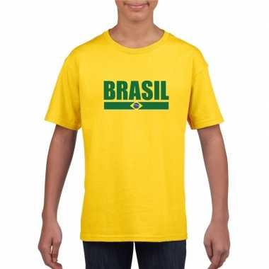 Geel brazilie supporter t shirt kinderen