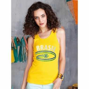Geel dames shirtje braziliaanse vlag