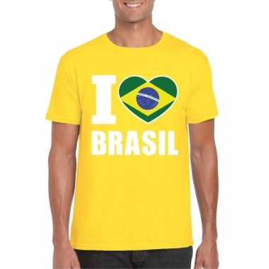 Geel i love brazilie fan shirt heren