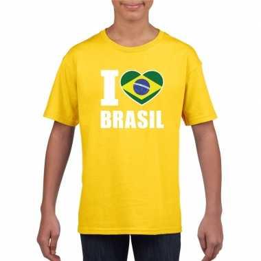 Geel i love brazilie fan shirt kinderen