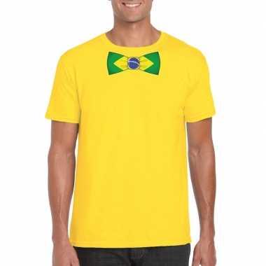 Geel t shirt brazilie vlag strikje heren