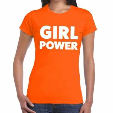 Girl power tekst t shirt oranje dames