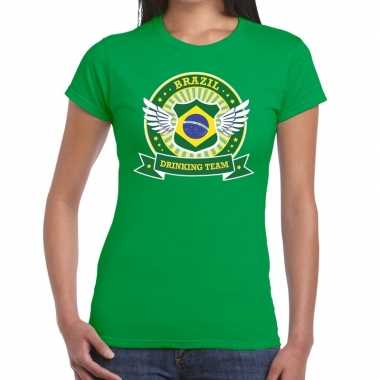 Groen brazil drinking team t shirt dames