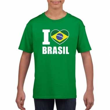 Groen i love brazilie fan shirt kinderen