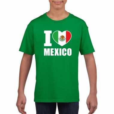 Groen i love mexico fan shirt kinderen