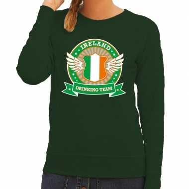 Groen ireland drinking team sweater dames