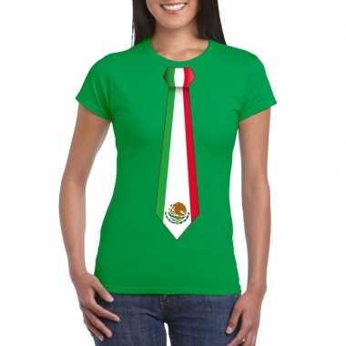 Groen t shirt mexico vlag stropdas dames