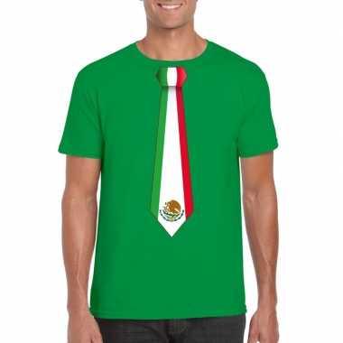 Groen t shirt mexico vlag stropdas heren