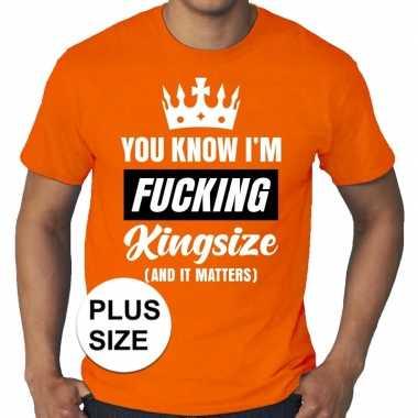 Grote maten fucking kingsize oranje shirt heren