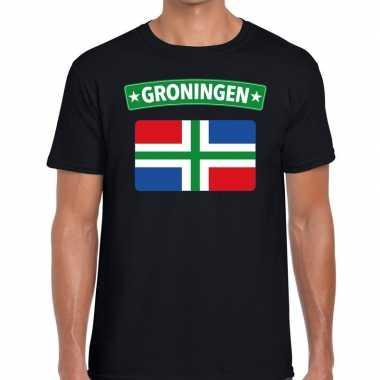 Grunnen vlag t-shirt zwart heren