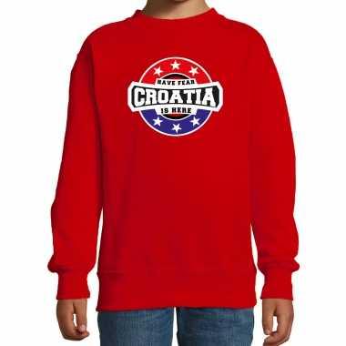 Have fear croatia is here / kroatie supporter sweater rood kids