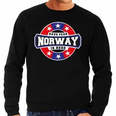 Have fear norway is here / noorwegen supporter sweater zwart heren