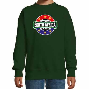 Have fear south africa is here / zuid afrika supporter sweater groen kids