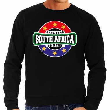 Have fear south africa is here / zuid afrika supporter sweater zwart heren