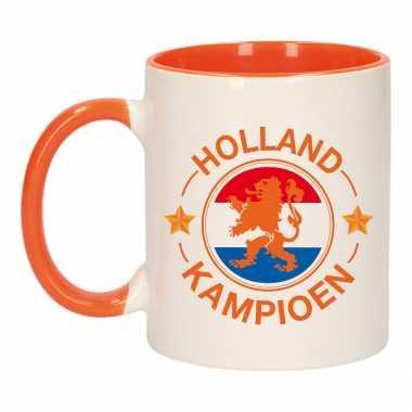 Holland kampioen leeuw mok/ beker oranje wit 300 ml