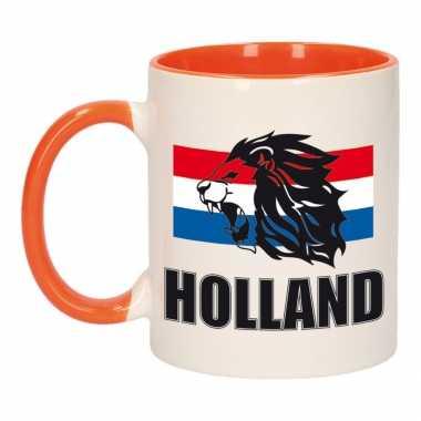 Holland leeuw silhouette mok/ beker oranje wit 300 ml