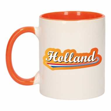 Holland lettercontour mok/ beker oranje wit 300 ml