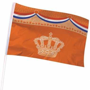 Holland/oranje gevelvlag kroon 100 150