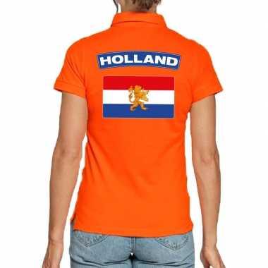 Holland supporter poloshirt oranje dames
