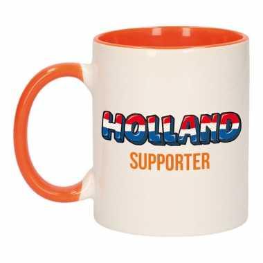 Holland supporter popart mok/ beker oranje wit 300 ml
