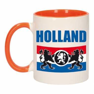 Holland vlag leeuw mok/ beker oranje wit 300 ml