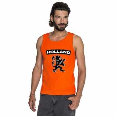 Holland zwarte leeuw singlet oranje heren