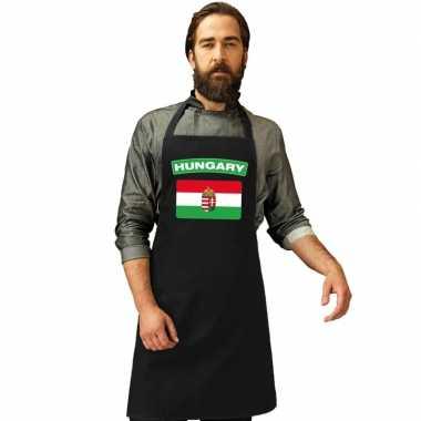 Hongarije vlag barbecueschort/ keukenschort zwart volwassenen