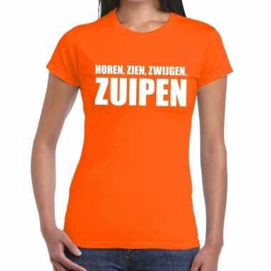 Horen zien zwijgen zuipen tekst t shirt oranje dames