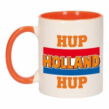 Hup holland hup vlag mok/ beker oranje wit 300 ml